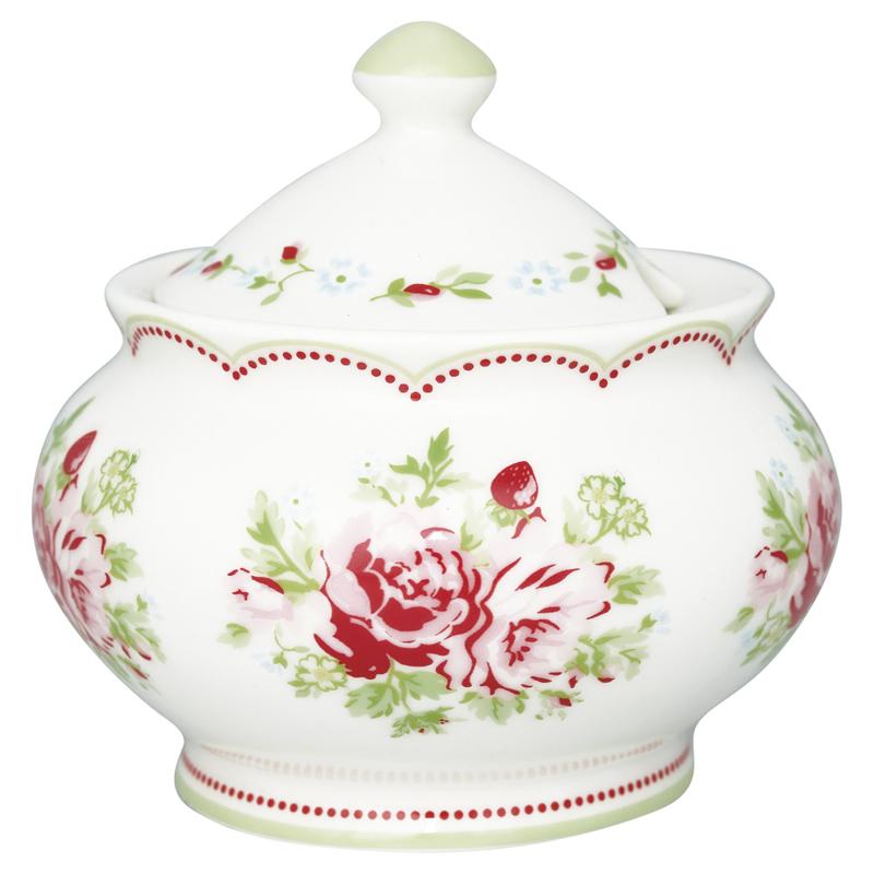 GreenGate Sugar Pot Mary white -stoneware-