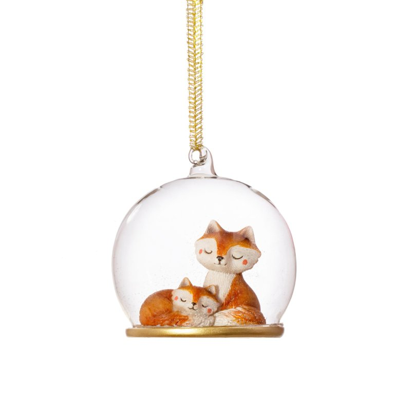Sass & Belle Mum & Baby Fox Dome Bauble