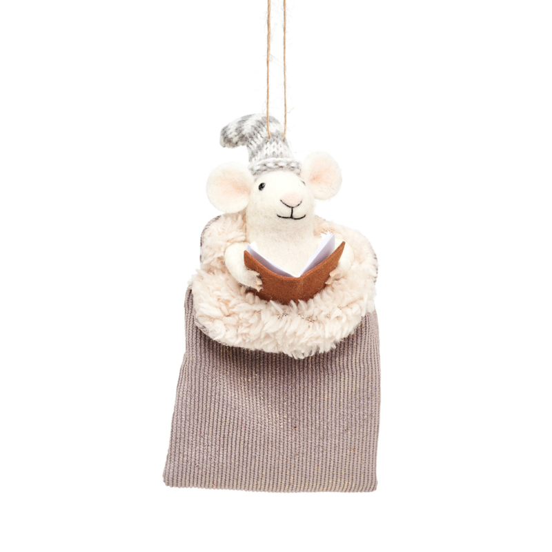 Sass & Belle Mouse in Grey Sleeping Bag Felt Decoration
