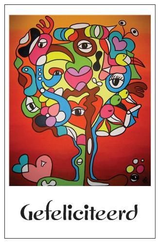 Cadeaukaartje met envelop EL Art Gefeliciteerd  -boom rood-