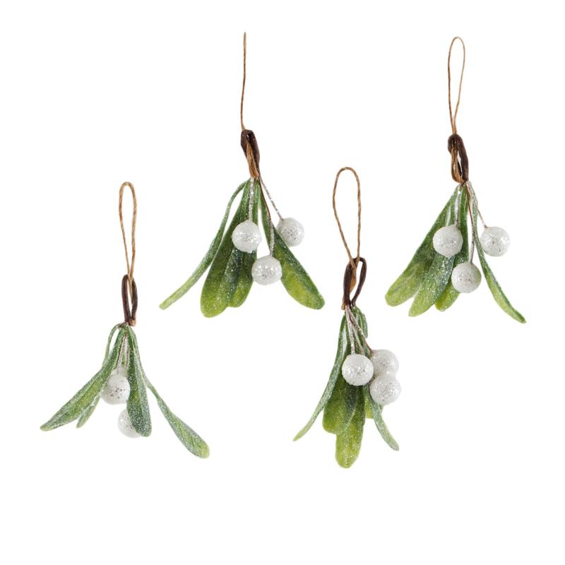 Sass & Belle Christmas Decoration Mistletoe Sprig -Set of 4-