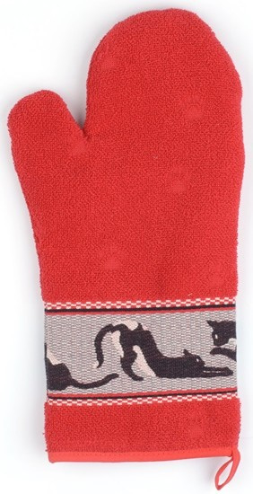 Bunzlau Oven Glove Cats Red