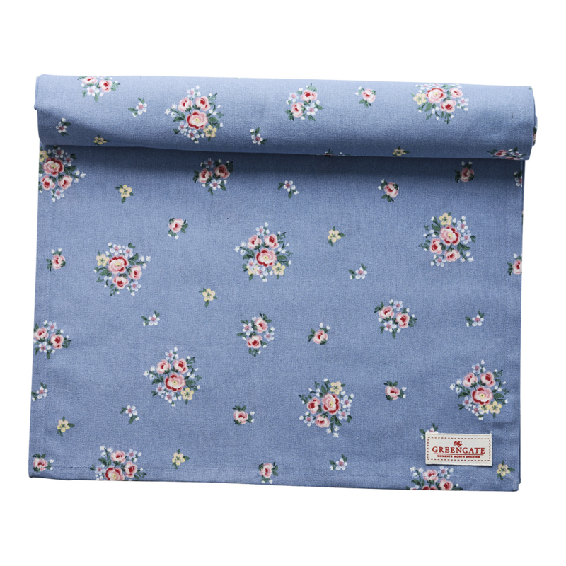 GreenGate Table Runner Nicoline dusty blue 45 x 140 cm