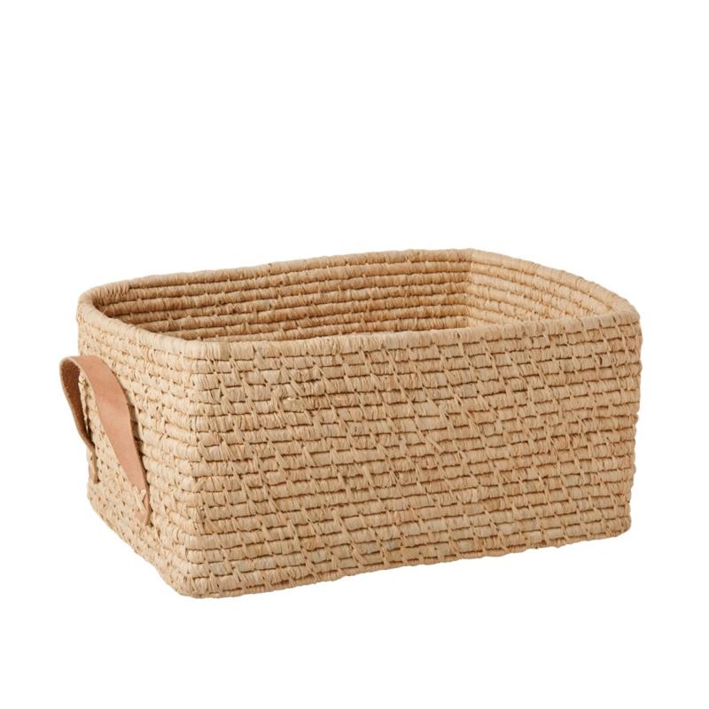 Rice Raffia Rectangular Basket with Leather Handles - Nature