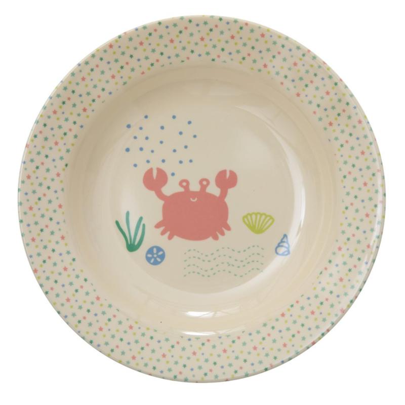Rice Kids Melamine Bowl with Ocean Life Print