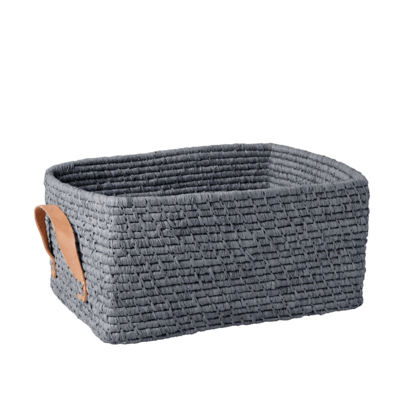 Rice Raffia Rectangular Basket with Leather Handles - Blue