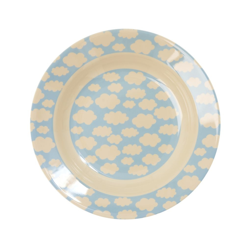 Rice Kids Melamine Bowl with Cloud Print - Blue