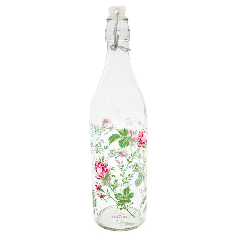 GreenGate Glass Bottle Constance white