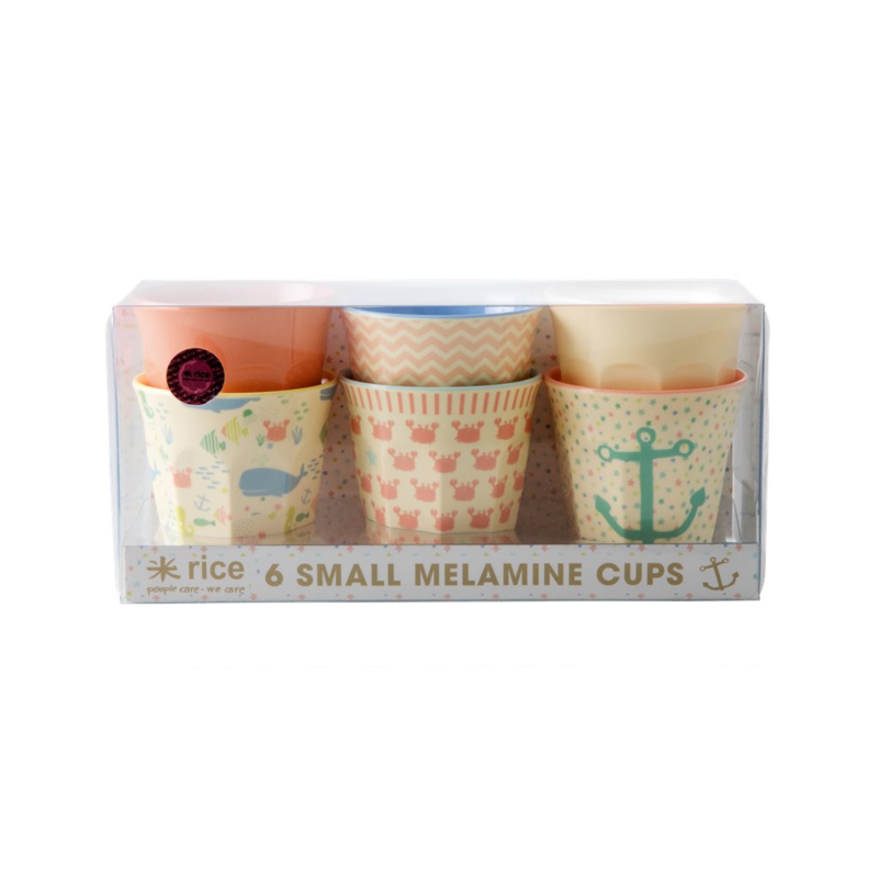 Rice Melamine Cups with Kids Ocean Life Print - Pink and Coral - Small  - 6 pcs.