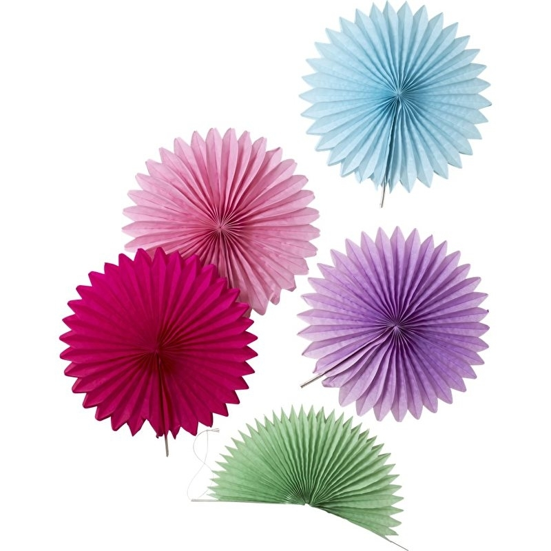 Rice 5 Mini Hanging Fans in Assorted Colors