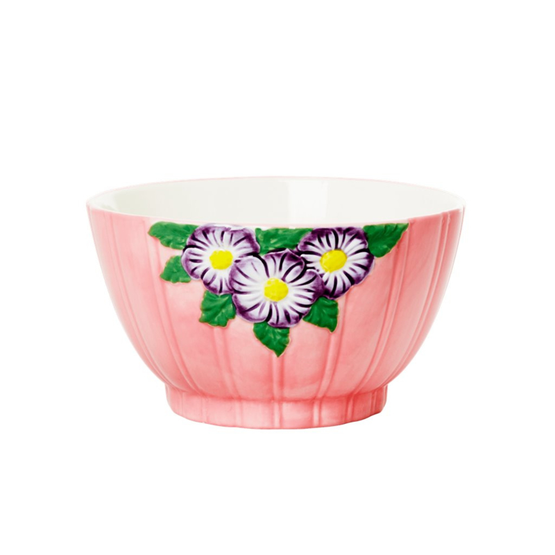 Rice Ceramic Bowl with Embossed Flower Design - Pink