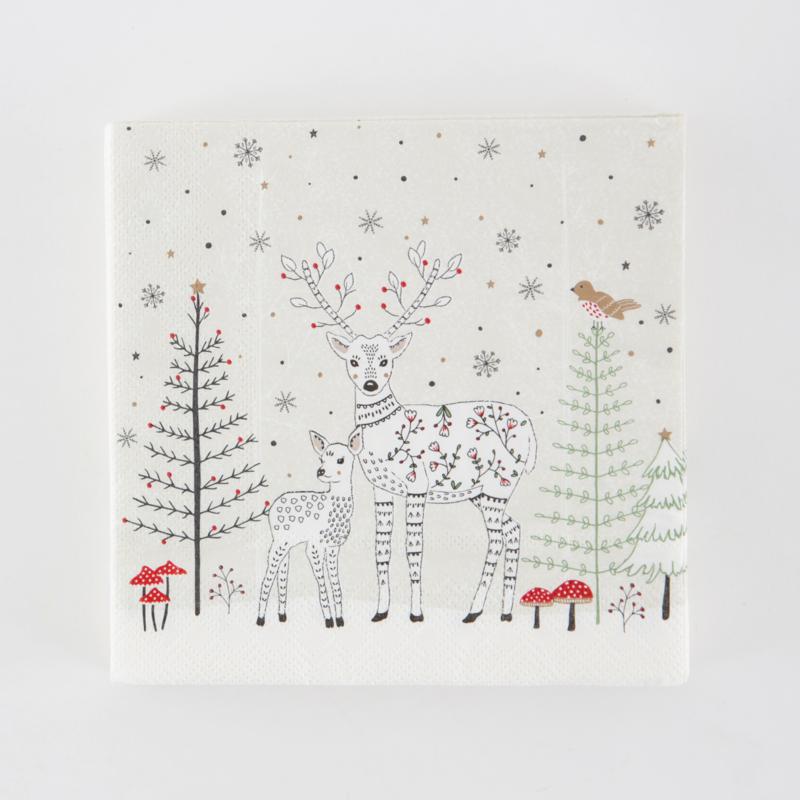 Sass & Belle Set of 20 Winter Forest Folk Deer Napkins