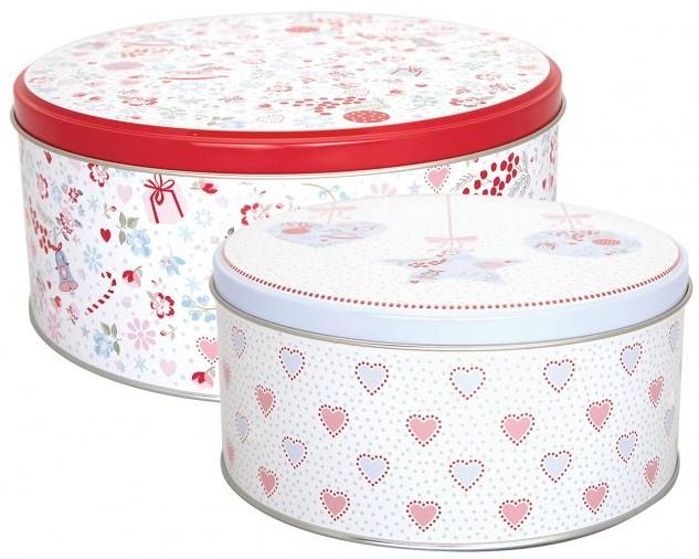 GreenGate Tin Box Round Carol white -set of 2-