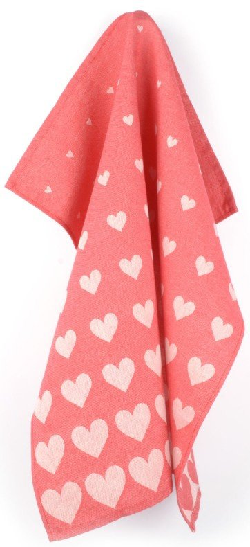 Bunzlau Tea Towel Hearts Red