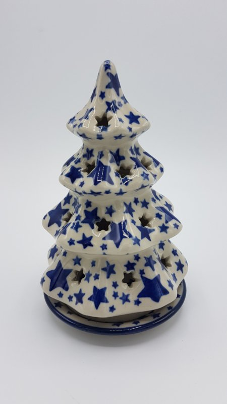 Bunzlau Christmas Tree for Tealight H 15 cm White Stars