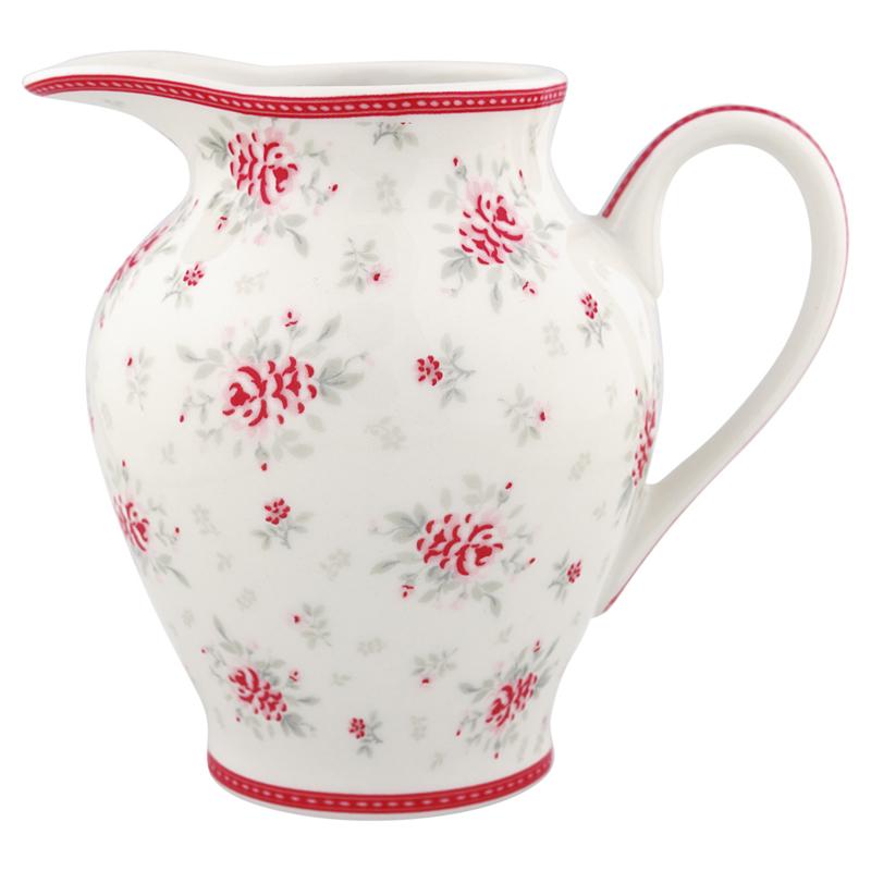 GreenGate Creamer round Flora white  -stoneware-