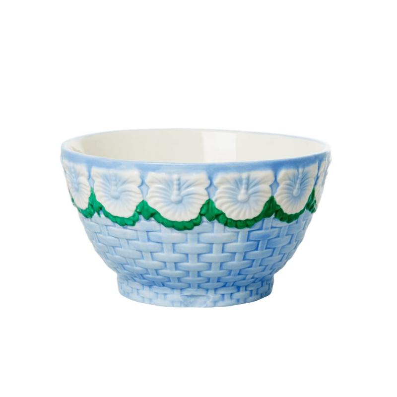 Rice Ceramic Bowl with Embossed Flower Design - Blue