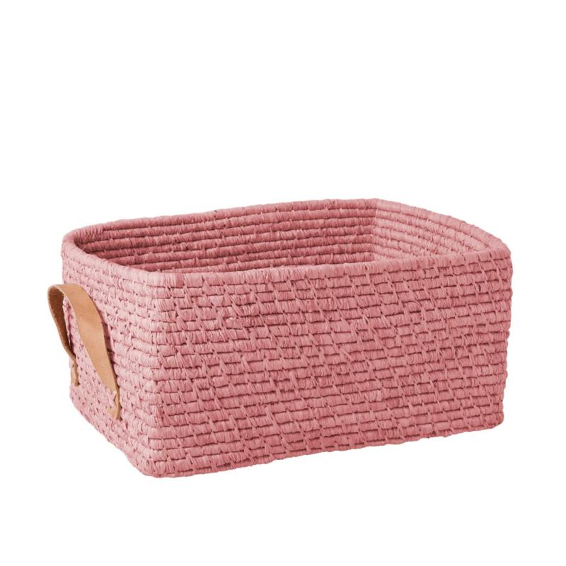 Rice Raffia Rectangular Basket with Leather Handles - Soft Pink