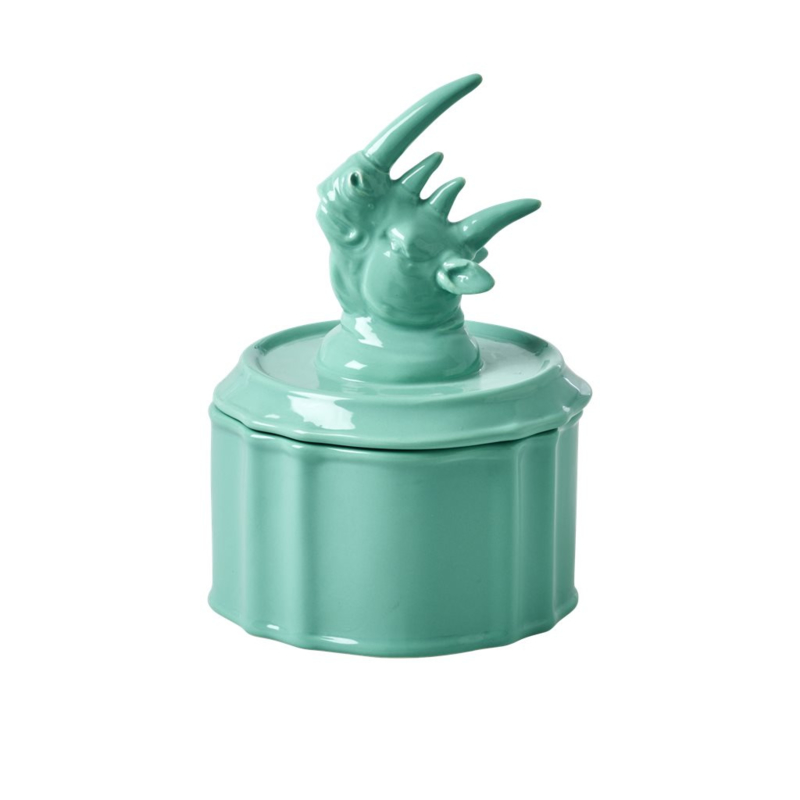 Rice Pastel Green Porcelain Jewelry Box with Rhino Head on Lid