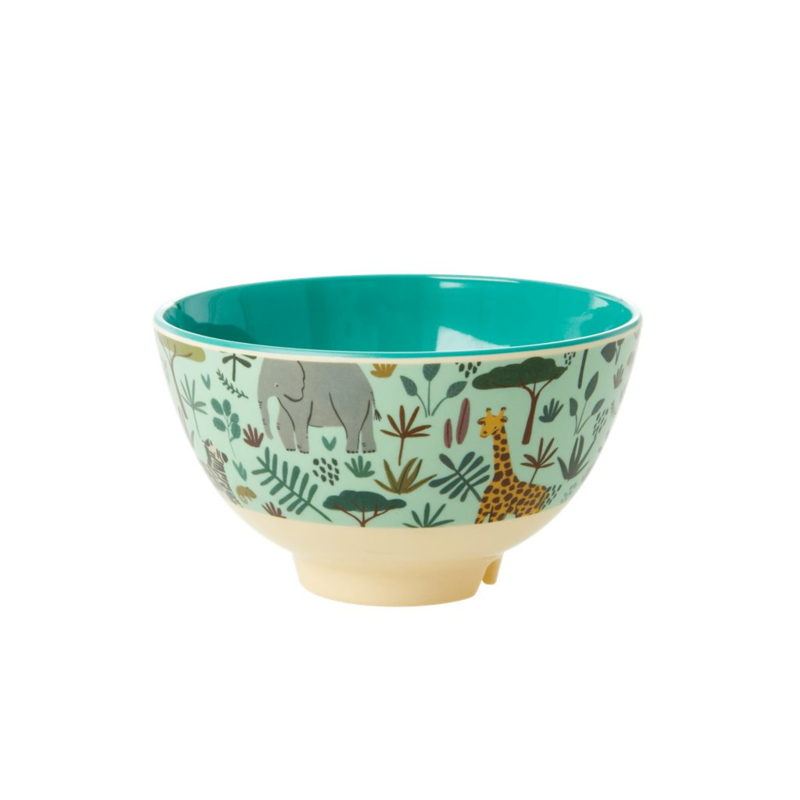 Rice Small Melamine Bowl - Two Tone - Green Jungle Print *vernieuwd model*
