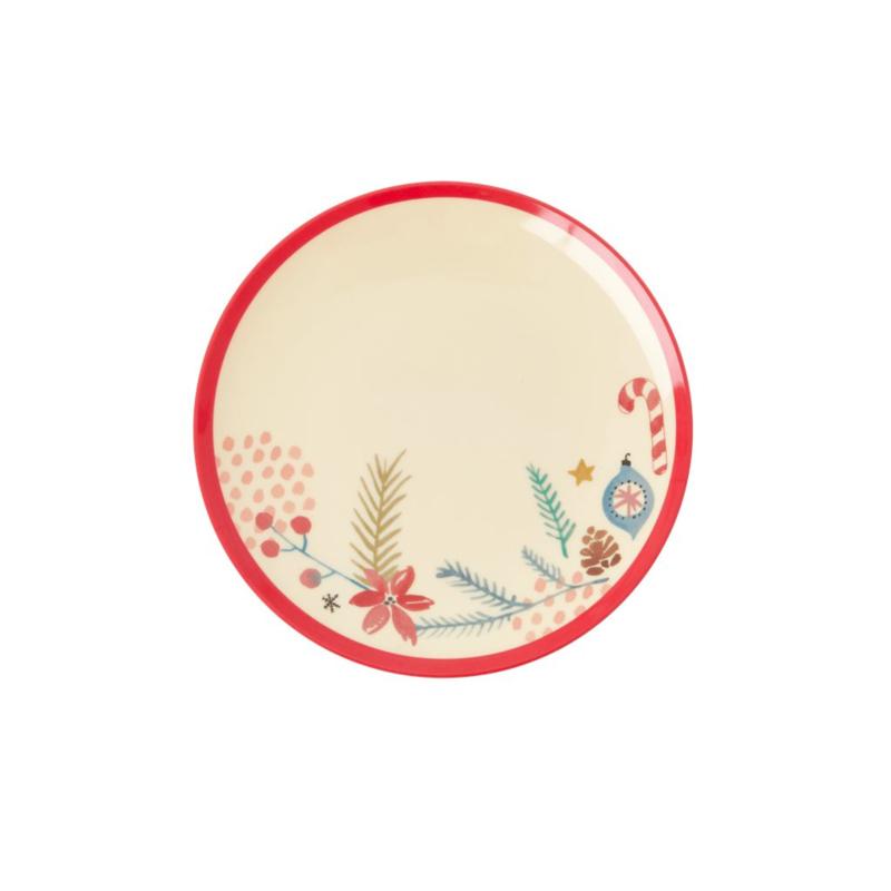 Rice Melamine Dessert Plate with Xmas Ornaments Print