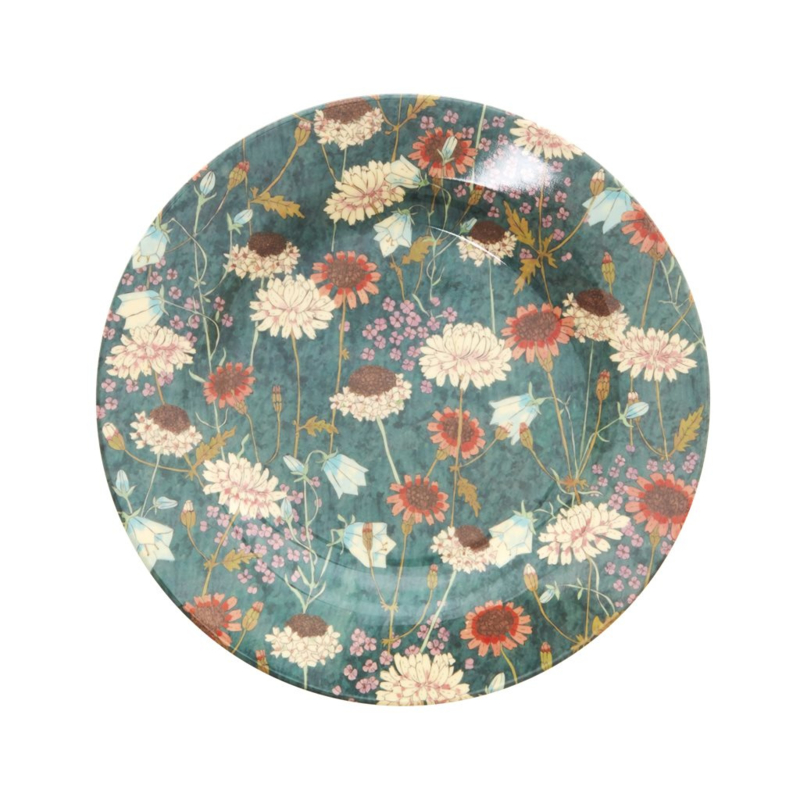 Rice Melamine Side Plate with Fall Flower Print (bord met rand)
