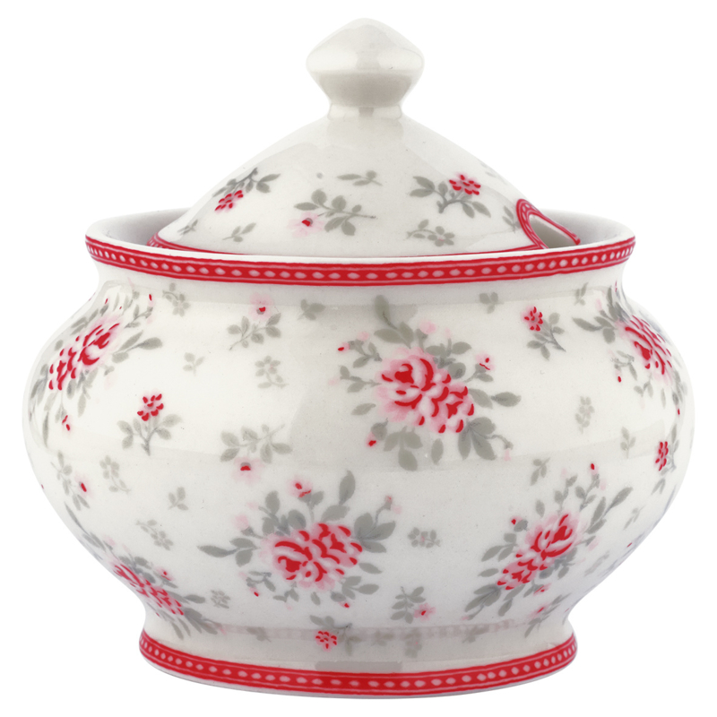 GreenGate Sugar Pot Flora White -stoneware-