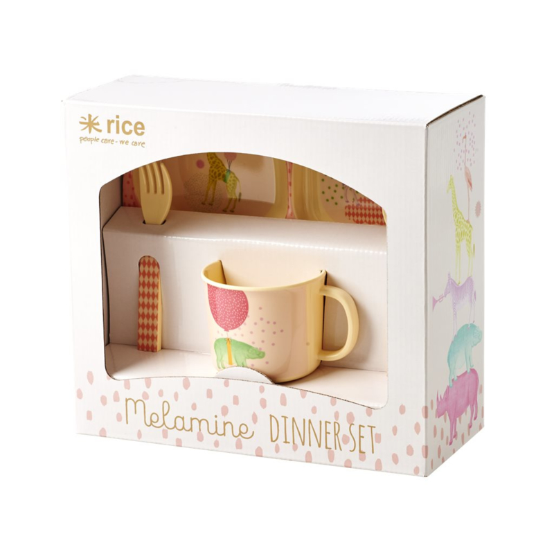 Rice Baby 4 pcs Melamine Dinner Set in Gift Box with Girls Animal Print