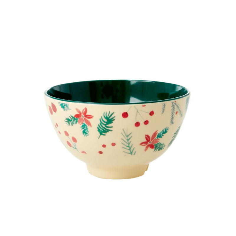 Rice Small Melamine Bowl - Poinsettia Xmas Print *vernieuwd model*
