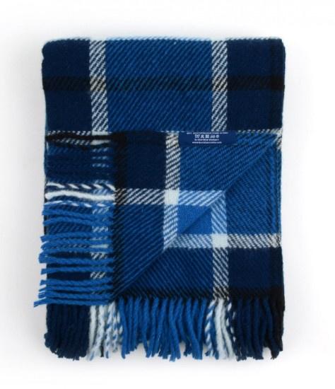 Bunzlau Plaid Checkered Dark Blue 100% Lambswool 130 x 170 cm