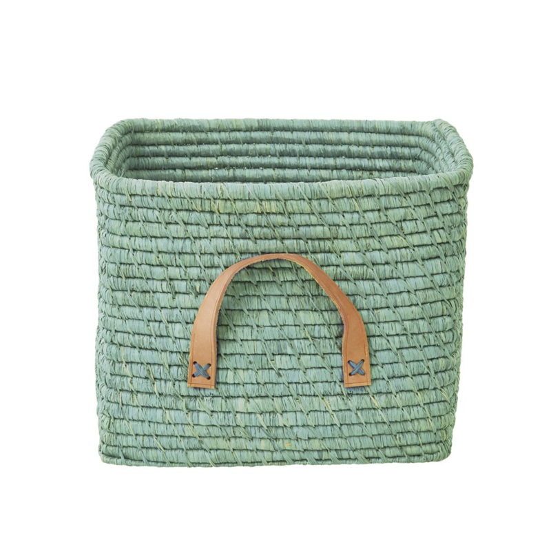 Rice Raffia Square Basket with Leather Handles - Mint