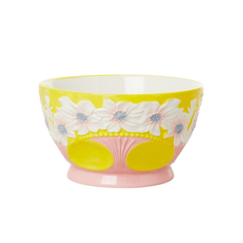 Rice Ceramic Bowl with Embossed Flower Design - Yellow