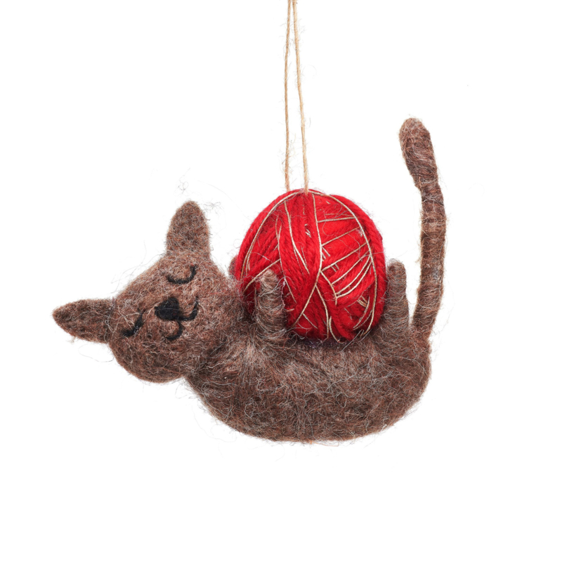 Sass & Belle Cat with Ball of Yarn Felt Decoration