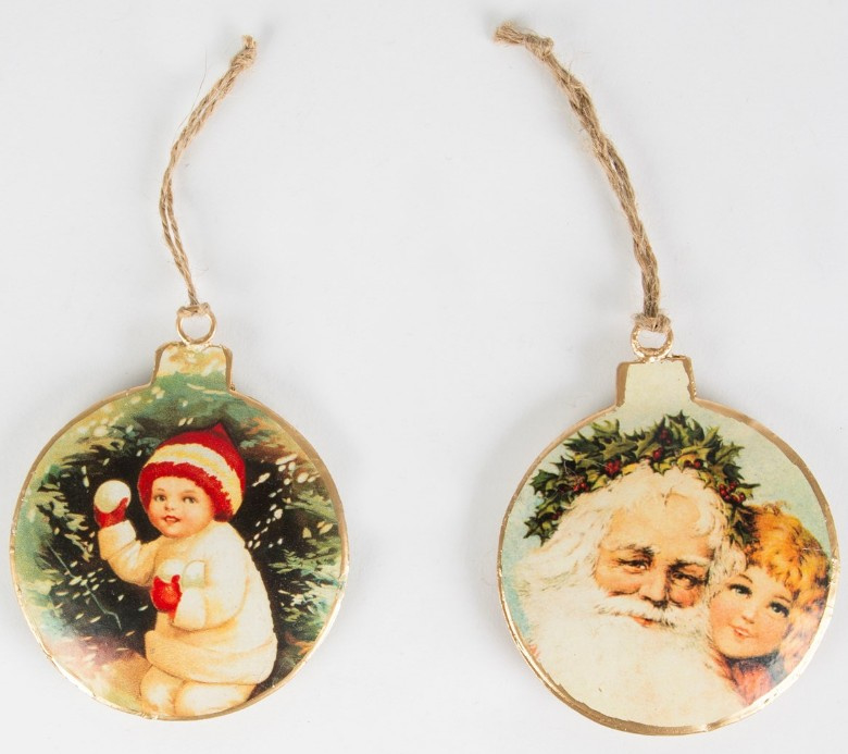 Sass & Belle Christmas Decoration Retro Bauble -Set of 2-