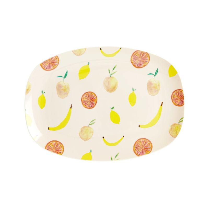 Rice Small Melamine Rectangular Plate - Happy Fruits Print -