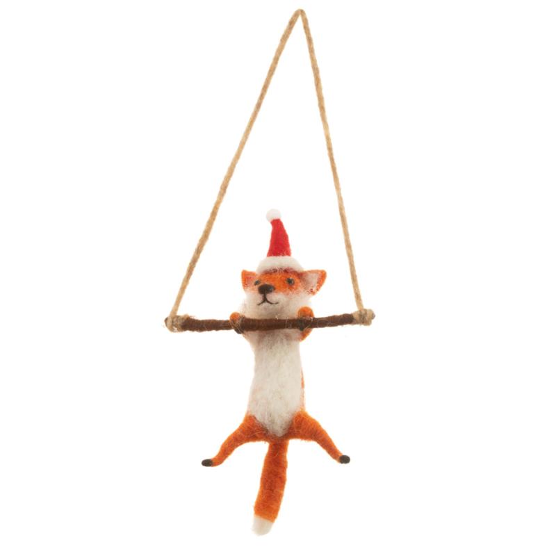 Sass & Belle Festive Fox Felt Hanging Decoration