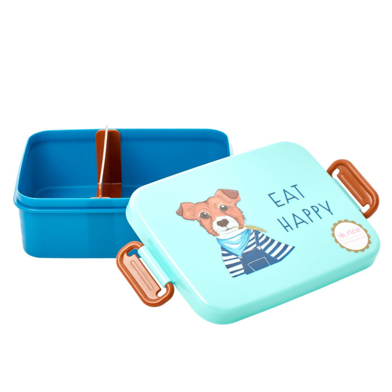 Rice Lunchbox with Divider - Farm Animals Print - Blue / Green