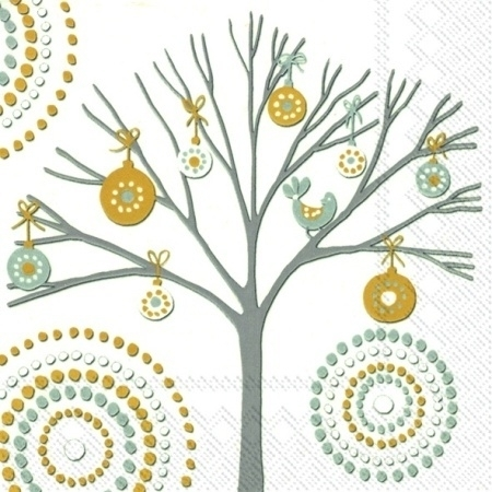 IHR Lunch Napkins Dotty Tree White