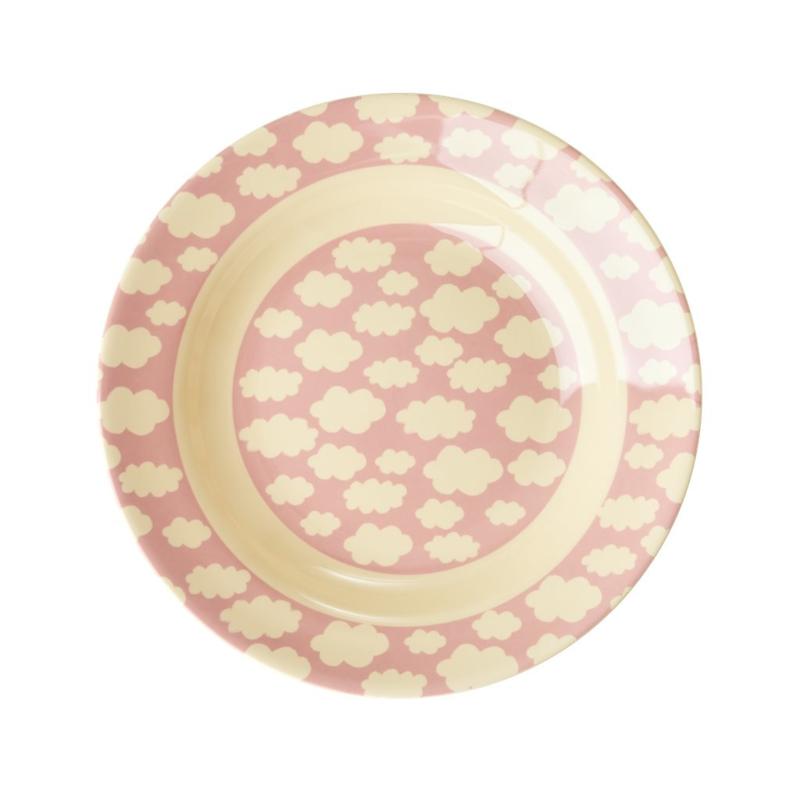 Rice Kids Melamine Bowl with Cloud Print - Pink