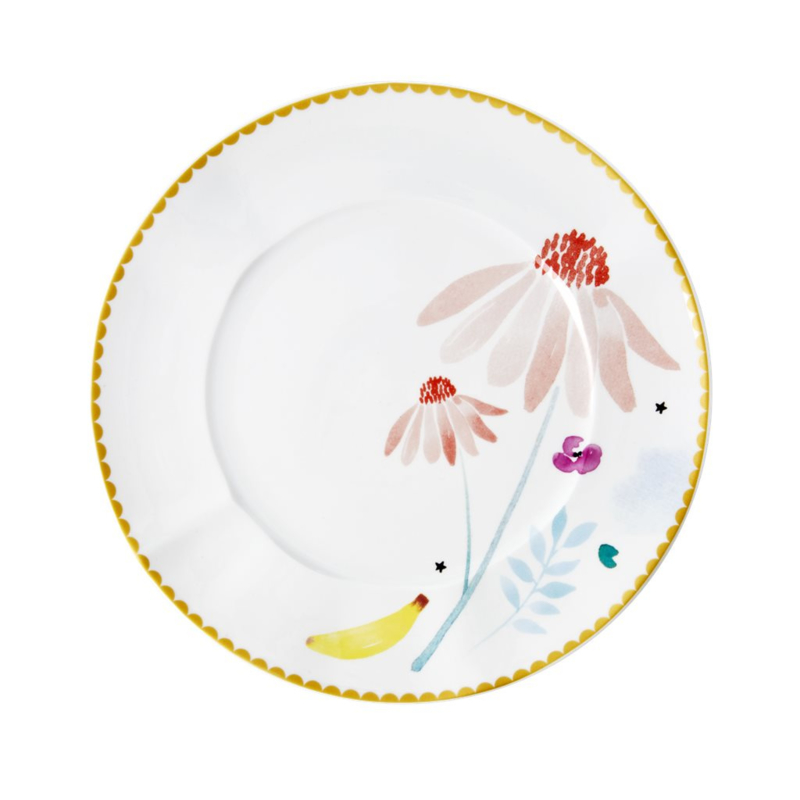 Rice Porcelain Lunch Plate - Pink Chamomile Print - Special Edition