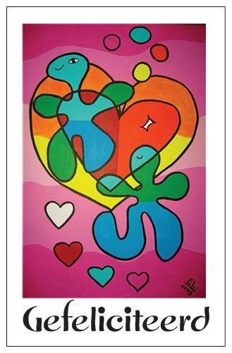 Cadeaukaartje met envelop EL Art Gefeliciteerd  -hartje roze-