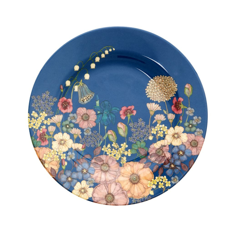 Rice Melamine Side Plate with Flower Collage Print (bord met rand)