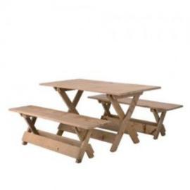 10 x set houten tafel & bank niet per 1 set te bestellen