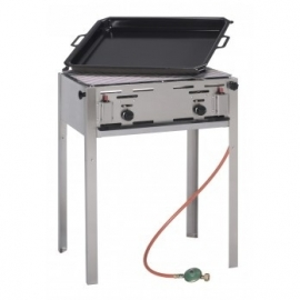 gas barbecue met grill of bakplaat
