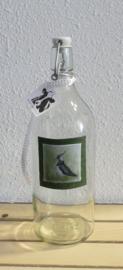 Karaf fles met kievit aquarel : sfeerlicht, nootjes, suikerpot of vaasje.