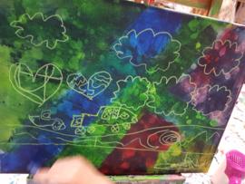 Kinderfeestje fantasie schilderij