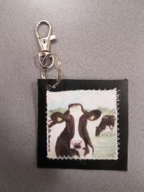 Koeien sleutelhanger van leer en stof