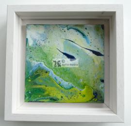 Schilderij groen acryl gieten
