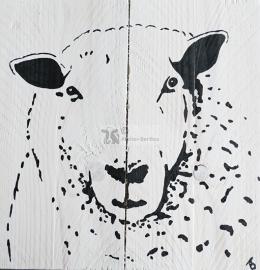 Schapen steigerhout schilderij ( voor binnen of buiten)