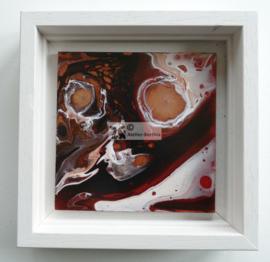 Schilderij brons rood zwart wit acryl gieten